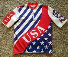 Vintage USA American Flag Cycling Jersey - Mens XL Stars Multi-Color 1/4 Zip