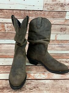 "Womens 9 M Durango RD542 11"" Slouch Tan Brown Leather Cowboy Boot Western Distre"