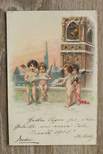 Litho AK Engel Bücher Putten Winter Kirchturm Glocke Neogotik 1900 Engelchen ++