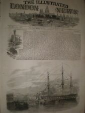 MARINA inglese HMS Canopus di Lisbona Portogallo 1847 stampa ref AW