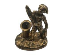 Vintage Figural Brass Match Holder & Striker w/ Fisherman Fish & Basket ~ Unique
