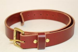 Handcrafted Mens 40 (38 - 42) Thick Premium Belting Brown Leather Belt
