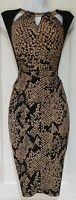 Womens Joseph Ribkoff Black Gold Animal Cutout Neck Ruche Formal Bodycon Dress12