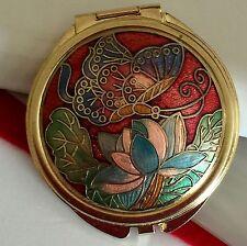 Cloisonne Enamel Butterfly Lotus Flower Design Double Mirror Compact Multi Color