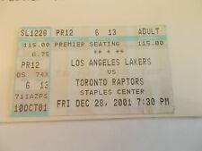 Los Angeles Lakers Toronto Raptors 12-28-01 Ticket Stub Kobe Bryant SK3