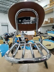 Indian Motorcycle Passenger Backrest with Tan Pad & Luggage Rack For Vintage