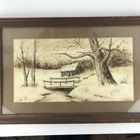Antique 1915 Winter landscape Watercolor Painting Bridge Signed Framed 16x25
