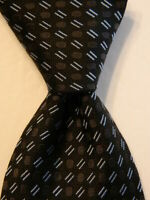 GIORGIO ARMANI Men's 100% Silk XL Necktie ITALY Luxury Geometric Black/Gray EUC