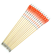 """AF 12x 31"""" Orange Turkey feathers wood arrows for hunting recurve bow or longbow"""