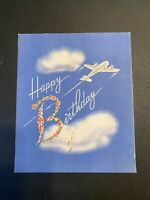 Vtg 1942 Happy Birthday Greeting Card with Airplane