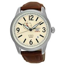 SEIKO MEN'S 5 SPORTS 45MM BROWN LEATHER BAND STEEL CASE AUTOMATIC WATCH SSA295