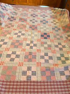 "Reversible Vintage Hand Quilted Plaid Cotton 9 Square Patch Quilt 72"" x 68"""