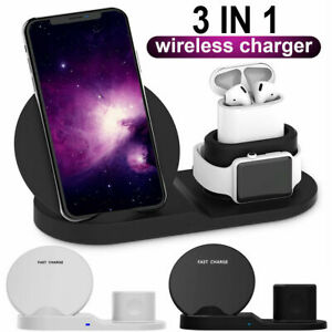 Wireless 3 in 1 Qi Fast Charger Dock Stand For iPhone 11 Apple Watch Pro