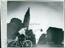 1966 Wire Photo Architecture Bicycle Ny Street Traffic Light Clock Tower 7X9