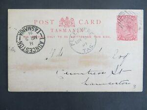 (P104) Tasmania PSCard Ellesmere to Launceston - good complete postmarks 1891