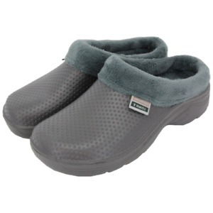 Town & Country Fleece Lined Slip On Cloggies for Warmth & Comfort - Grey, Unisex