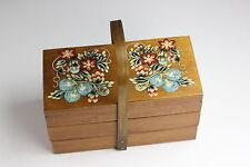 Alter 3 Ebenen Nähkorb Nähkasten Holz Vintage 60er Jahre Floral