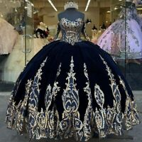 Quinceanera Dresses Sweet 16 Navy Blue Velvet Ball Gown Sequins Lace Applique