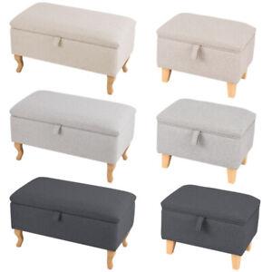 Small Large Fabric Ottoman Storage Box Pouffe Bench Seat Hinge Foot Stool Chair
