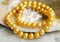 Natural 8-9MM Natural Yellow Akoya Freshwater Cultured Pearl Necklace 18''