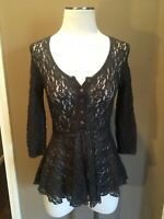 Nwot Free People Size Extra Small Charcoal Gray Lace Peplum Blouse Top