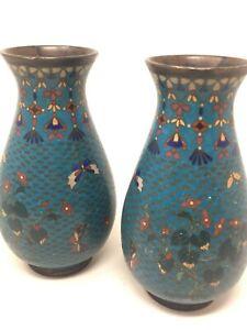 Paire De Vase e!maillé  Cloisonné XIX Eme Asia Asian 19 th chine Enamel