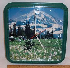 "ALASKA ""DENALI"" PHOTO WALL CLOCK BY CENTURY CLOCK - 9"" X 9"" SQUARE GREEN FRAME"