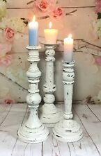 Large Tall Wooden Candle Holders Distressed White Set Shabby Chic Cottage Vtg