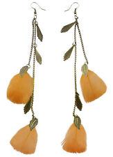 F1952 fashion orange light long Feather bronze leaf chain dangle earrings New