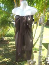 Sheer Sarong SOLID BROWN Beach Coverup Hawaii Cruise Pareo Luau Wrap Skirt Dress