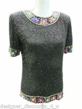 Laurence Kazar Sequined Beaded 100% Silk Evening Top Vtg Occasions Shirt Sz S Sm