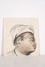 DESSIN fusain et sanguine XX° Visage Jeune homme noir en turban Orientalisme