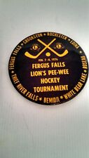 Vintage Button Pin Back Fergus Falls Lion's Pee-Wee Hockey Tournament 1976 Nice!
