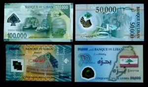LEBANON ALL (4) TYPES 2013-14-15-02 OF UNC 50,000+100,000 LIRAS POLYMER B.NOTES