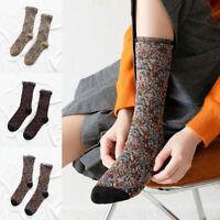 1Pair Women Hosiery Floral Socks Winter Socks Soft Mid-tube Socks Retro Socks