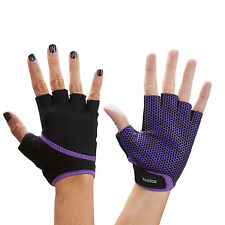 Toesox Grip Gloves Half Finger Design Yoga Pilates & Multiple Purple