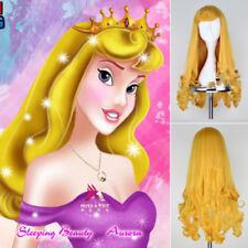 Movie Sleeping Beauty Princess Aurora Wig Long Curly Golden Anime Cosplay Wig