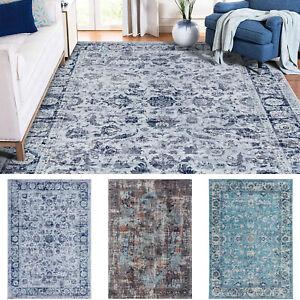 Floor Rug Gray Blue Aqua Soft Anti Slip Persian Traditional Carpet Mat