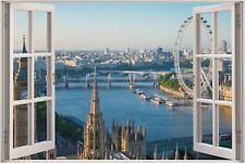 Cheap 3D Window view London Eye Wall Sticker Film Mural Art Decal Wallpaper 1135