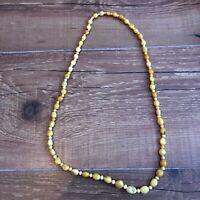 Vintage Retro Yellow Bead Plastic Beaded Necklace