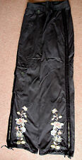 New 8-10 Tara Jarmon Drawstring Wide Floral Embroidered Cargo Jeans Trousers