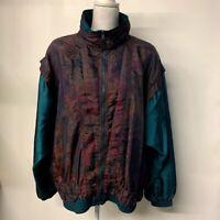 VTG Oil Slick Paisley Floral Windbreaker Jacket Coat Oil Spill Color Shiny XL