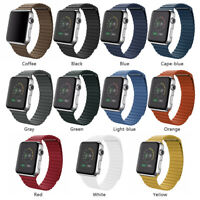 For Apple Watch Series 6 5 4 3 2 Band 44mm 40 Leather Loop Band Magnetic Strap#