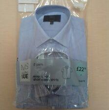 "M&S mens shirt 14.5"" collar short sleeve 2 pack blue BNWT"
