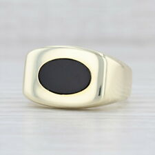 Black Onyx Chalcedony Men's Ring 14k Yellow Gold Size 9.75 Oval Solitaire