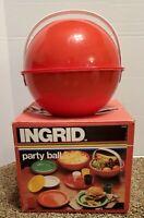 Vintage INGRID Red Plastic Picnic Party Ball Retro Picnic Set Plates bowls cups