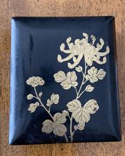 "Vintage Japanese Black Lacquer Ware Box Floral 3 1/4"" X 4"""