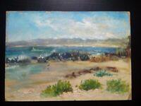 Tableau paysage bord de mer Côte d'Azur années 1930 - 1940 personnages plage