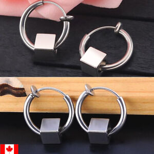 Pair stainless Steel non pierced ear Stud  Hoop square beaded  clip on earring