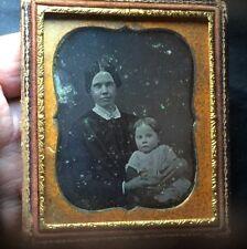 Touching MOTHER & Child NEWTON FAMILY c1852 6th Plate DAGUERREOTYPE PHOTO PreWAR